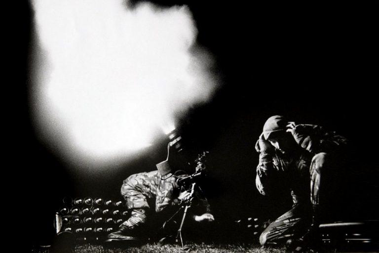 Mortrars Firing at Night