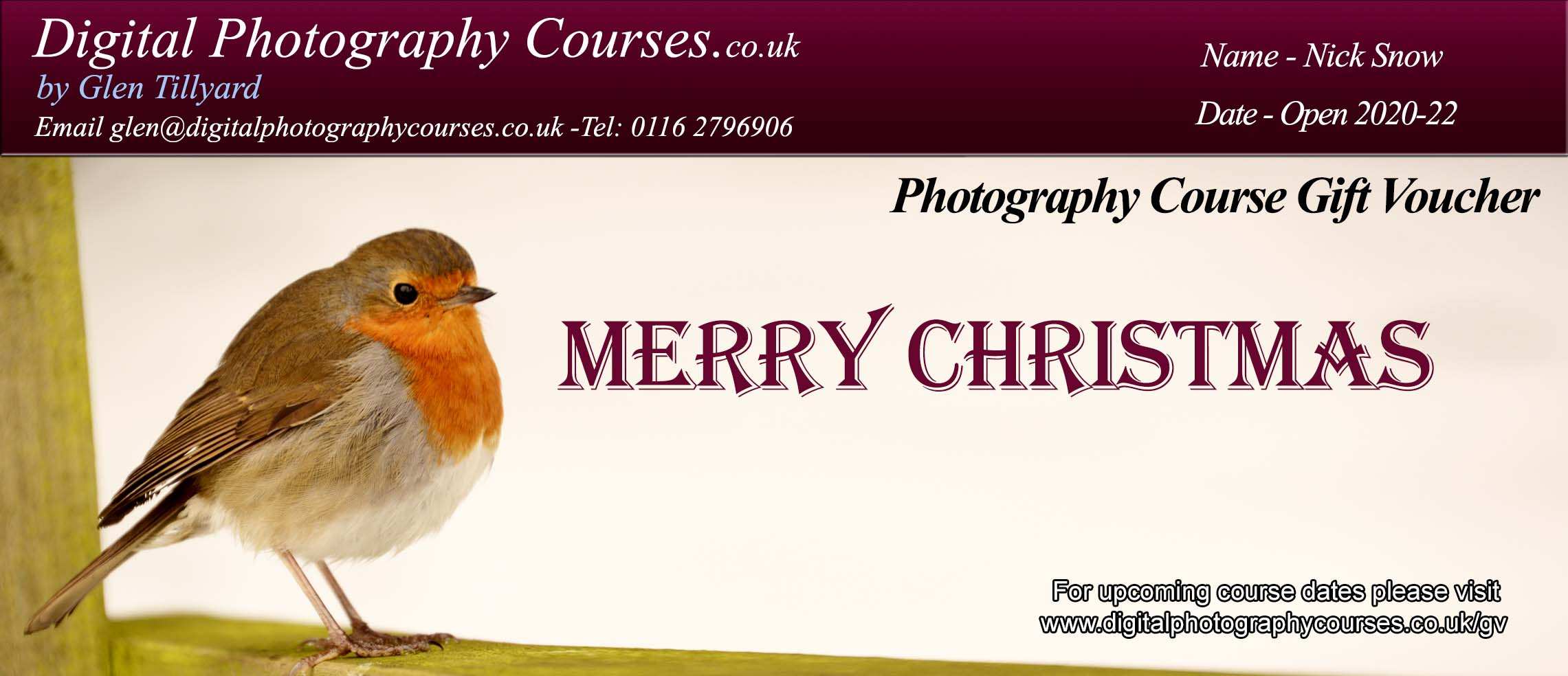 Digital Photography Course Gift Voucher
